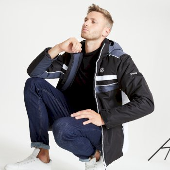 The Jenson Button Edit - Vindicator Waterproof Insulated Hooded Ski Jacket Black Ebony Grey