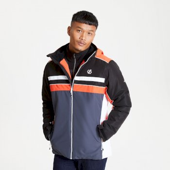 The Jenson Button Edit - Vindicator Waterproof Insulated Hooded Ski Jacket Ebony Grey Trail Blaze