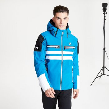 Men's Surge Out Black Label Waterproof Insulated Hooded Ski Jacket Petrol Blue