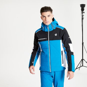Veste de ski à capuche Homme imperméable et isolante OUT FORCE - Collection Black Label Bleu