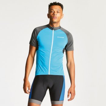 Men's Sequal Cycle Jersey Fluro Blue/Charcoal