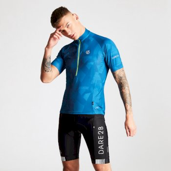 Men's Percept Printed Cycling Jersey Petrol Blue