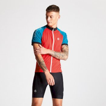 Men's Accurate Full Zip Multi Pocket Cycling Jersey Fiery Red Ocean
