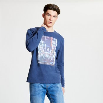 Men's Industry Long Sleeved Graphic Print T-Shirt Admiral Blue
