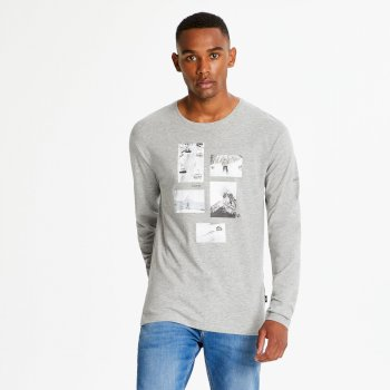 Men's Industry Long Sleeved Graphic Print T-Shirt Ash Marl