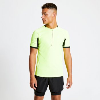 Men's Aces Half Zip Lightweight Cycle Jersey Fluro Yellow Black