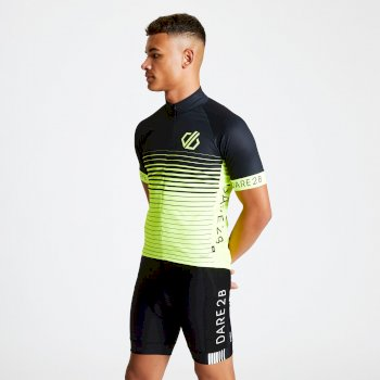 Men's AEP Alternation Cycling Jersey Black Fluro Yellow