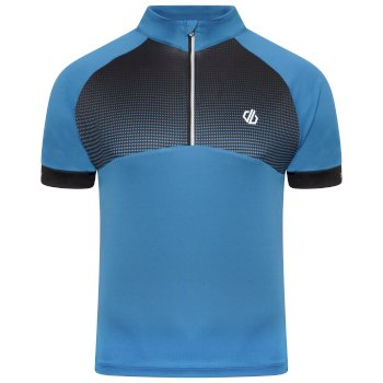 Men's Stay The Course Half Zip Cycling Jersey Petrol Blue Black Gradient