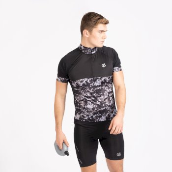 Men's Stay The Course Half Zip Cycling Jersey Black