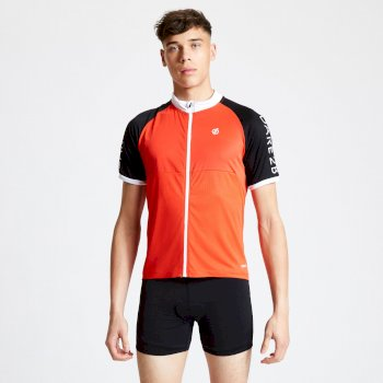 Men's Accurate II Full Zip Cycling Jersey Trail Blaze Red Black