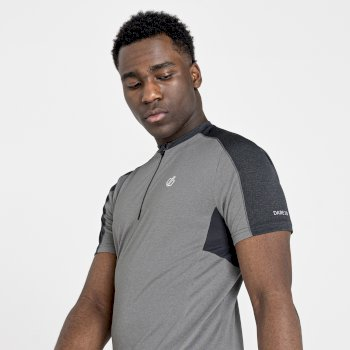 Men's Aces II Half Zip lightweight Jersey   Ash Grey Marl Ebony