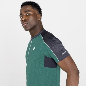 Men's Aces II Half Zip lightweight Jersey   Jelly Bean Green Ebony Grey