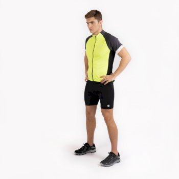 Men's Protraction Full Zip Lightweight Jersey  Fluro Yellow Ebony Grey