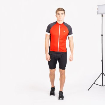 Men's Protraction Full Zip Lightweight Jersey  Trail Blaze Red Ebony Grey