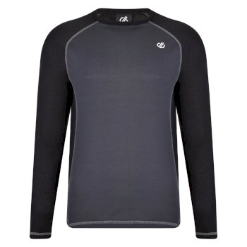 Men's Exchange Long Sleeved Base Layer Top Black Ebony Grey