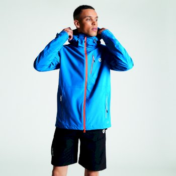 Men's Diluent Lightweight Waterproof Jacket with Detachable Hood Petrol Blue