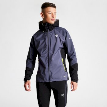 Men's Aline Lightweight Hooded Waterproof Jacket Quarry Grey Black