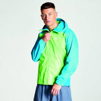 Men's Propel Lightweight Packaway Waterproof Shell Jacket Jasmine Green Atlantic Blue
