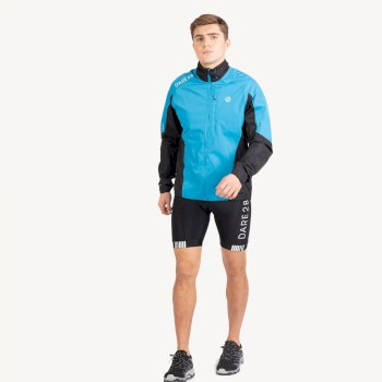 Men's Mediant Waterproof Reflective Cycling Jacket Methyl Blue Black