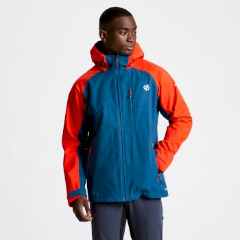 Men's Diluent II Waterproof Hooded Jacket Majolica Blue Trail Blaze Red