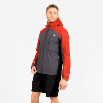 The Jenson Button Edit - Diluent III Waterproof Hooded Jacket Trail Blaze Red Ebony Grey