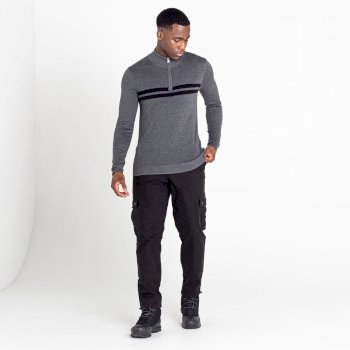Men's Unite Us Half Zip Knit Sweater Charcoal Grey Black