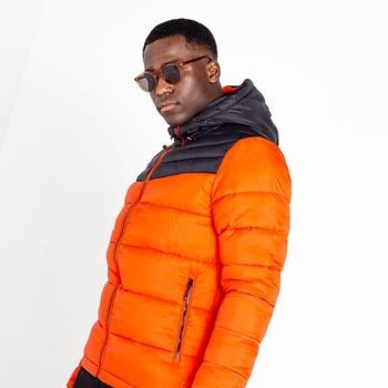 Men's Hot Shot Hooded Baffled Jacket Amber Glow Black