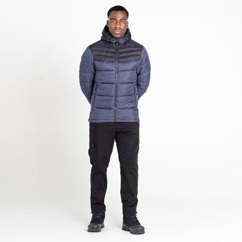 Men's Hot Shot Hooded Baffled Jacket Ebony Grey Black