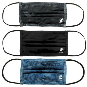 Adult's Washable On The Defence Face Cover 3 Pack  Black Blue Print