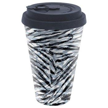 Bamboo Coffee Mug Black White Zebra Print