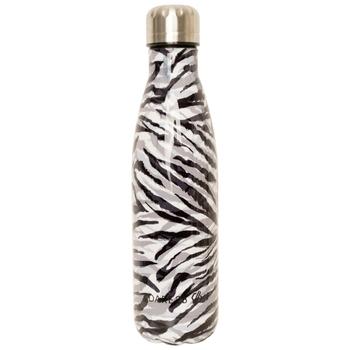 Metal Drinks Bottle Black White Zebra Print