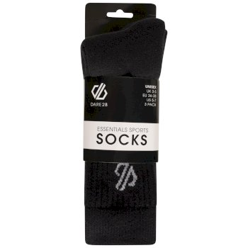 Adult's Essentials Sports Socks 3 Pack Black