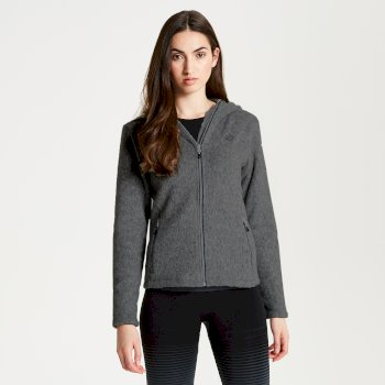Women's Forerun Full Zip Hooded Fleece Charcoal Grey