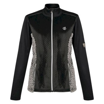 Women's Impearl Full Zip Faux Fur Luxe Stretch Midlayer Black Charcoal