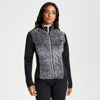 Women's Impearl Full Zip Faux Fur Luxe Stretch Midlayer Charcoal Black