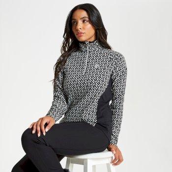 Polaire élégante et confortable Femme CONFIRM avec motifs design et ouverture par 1/2 zip Noir