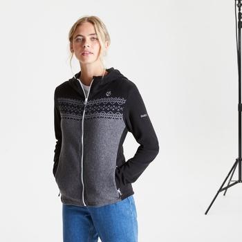Women's Herald Full Zip Hooded Fleece Black Charcoal Grey Marl
