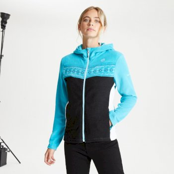 Women's Herald Full Zip Hooded Fleece Azure Blue Black