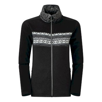 Swarovski Embellished - Women's Overawe Full Zip Faux Fur Collar Luxe Fleece Black