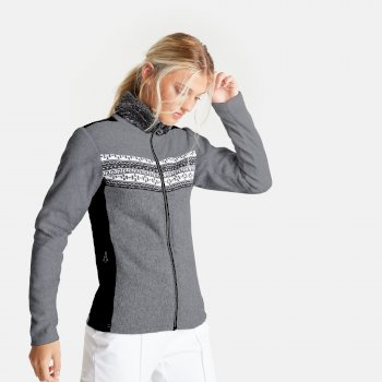 Swarovski Embellished - Women's Overawe Full Zip Faux Fur Collar Luxe Fleece Mid Grey