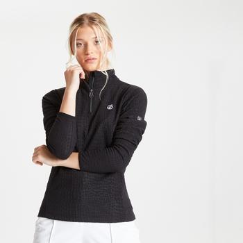 Polaire Femme EXCITE avec imprimé et ouverture 1/2 zip - Collection luxe Noir