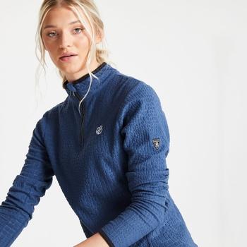 Polaire Femme EXCITE avec imprimé et ouverture 1/2 zip - Collection luxe Bleu