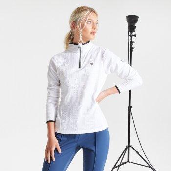 Polaire Femme EXCITE avec imprimé et ouverture 1/2 zip - Collection luxe Blanc