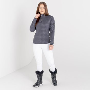 Swarovski Embellished - Women's Savvy Half Zip Fleece Ebony Grey