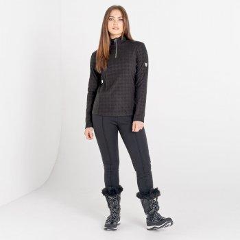 Swarovski Embellished - Women's Savvy Half Zip Fleece Black