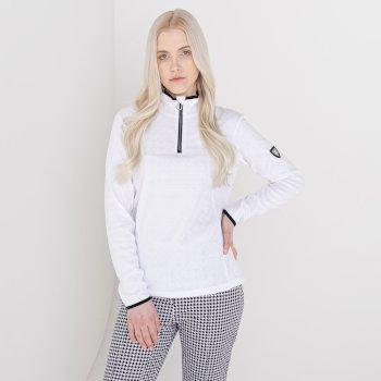 Swarovski Embellished - Women's Savvy Half Zip Fleece White