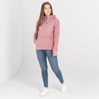 Swarovski Embellished - Women's Obsessed Half Zip Hoodie Powder Pink