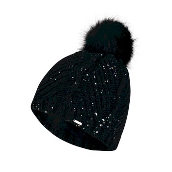 Women's Crystalized Bobble Beanie Hat Black