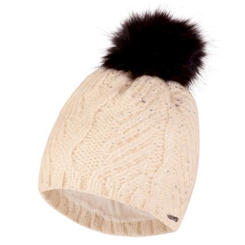 33e9528f Women's Crystalized Bobble Beanie Hat White