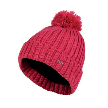 Women's Mercy Bobble Beanie Hat Pink Fusion